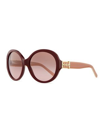 Plastic Rounded Cat-Eye Sunglasses, Bordeaux by Tory Burch at Neiman Marcus.