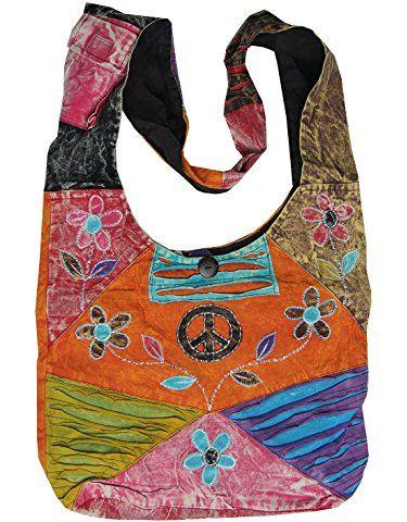 KayJayStyles Hobo Bohemian Recycled Patch Peace Crossbody Bag ...