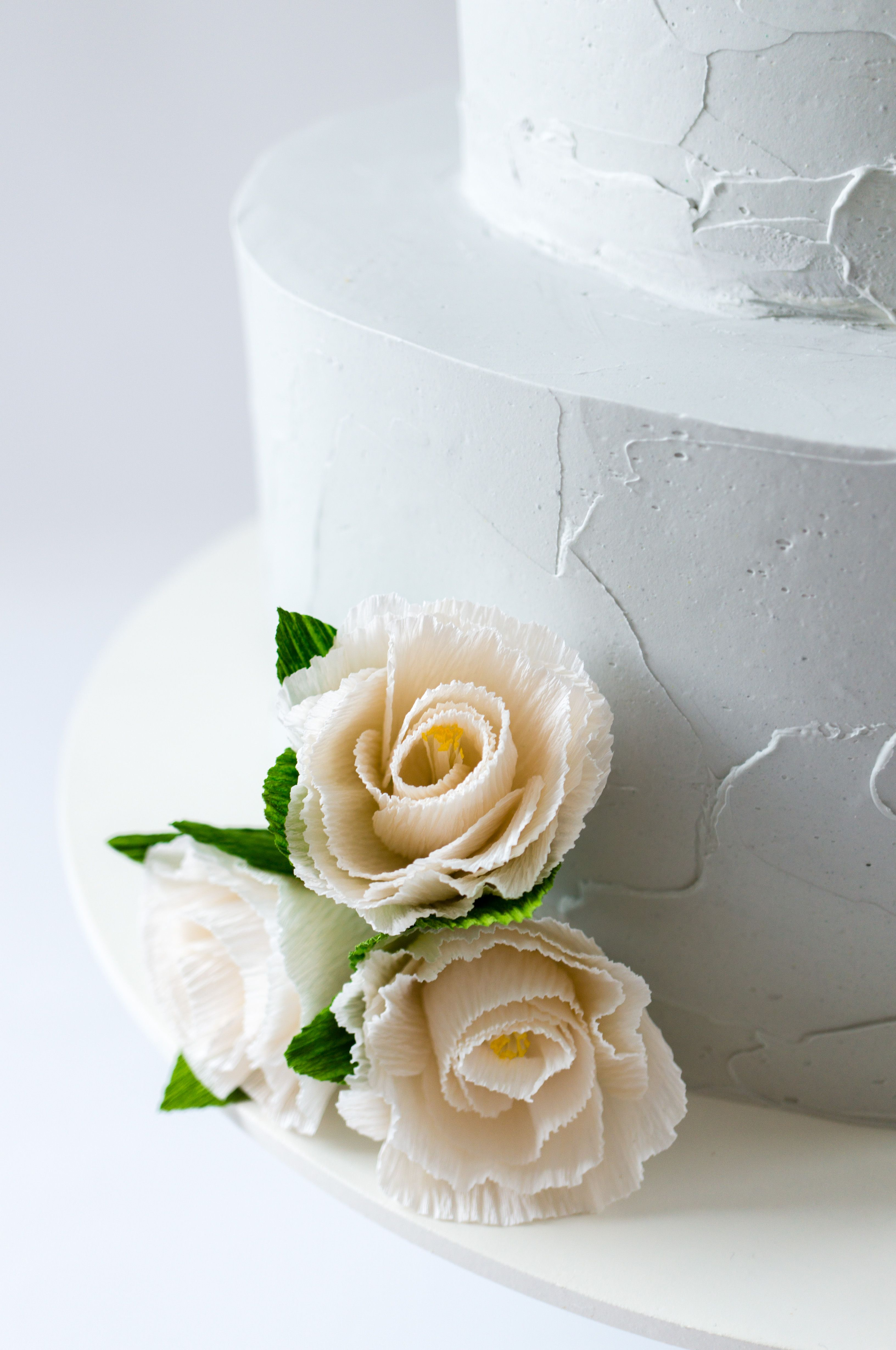 Textured Gray Buttercream And Paper Flowers On This Two Tier Wedding