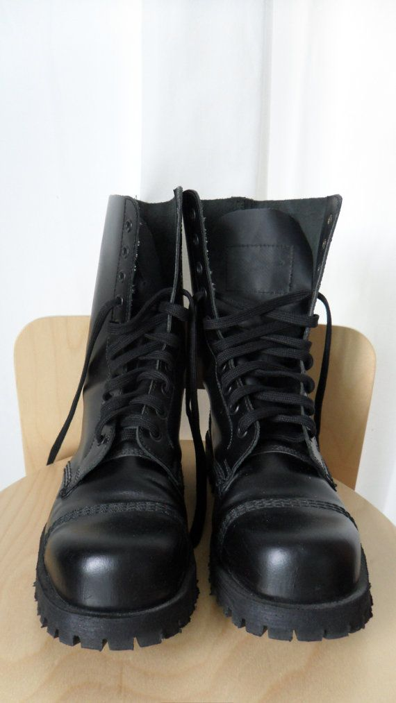 2e8e09b734d6 Vintage goth punk 10 hole lace up boots Underground England UK size 5  US 7  womens  US 6 mens.  64.00