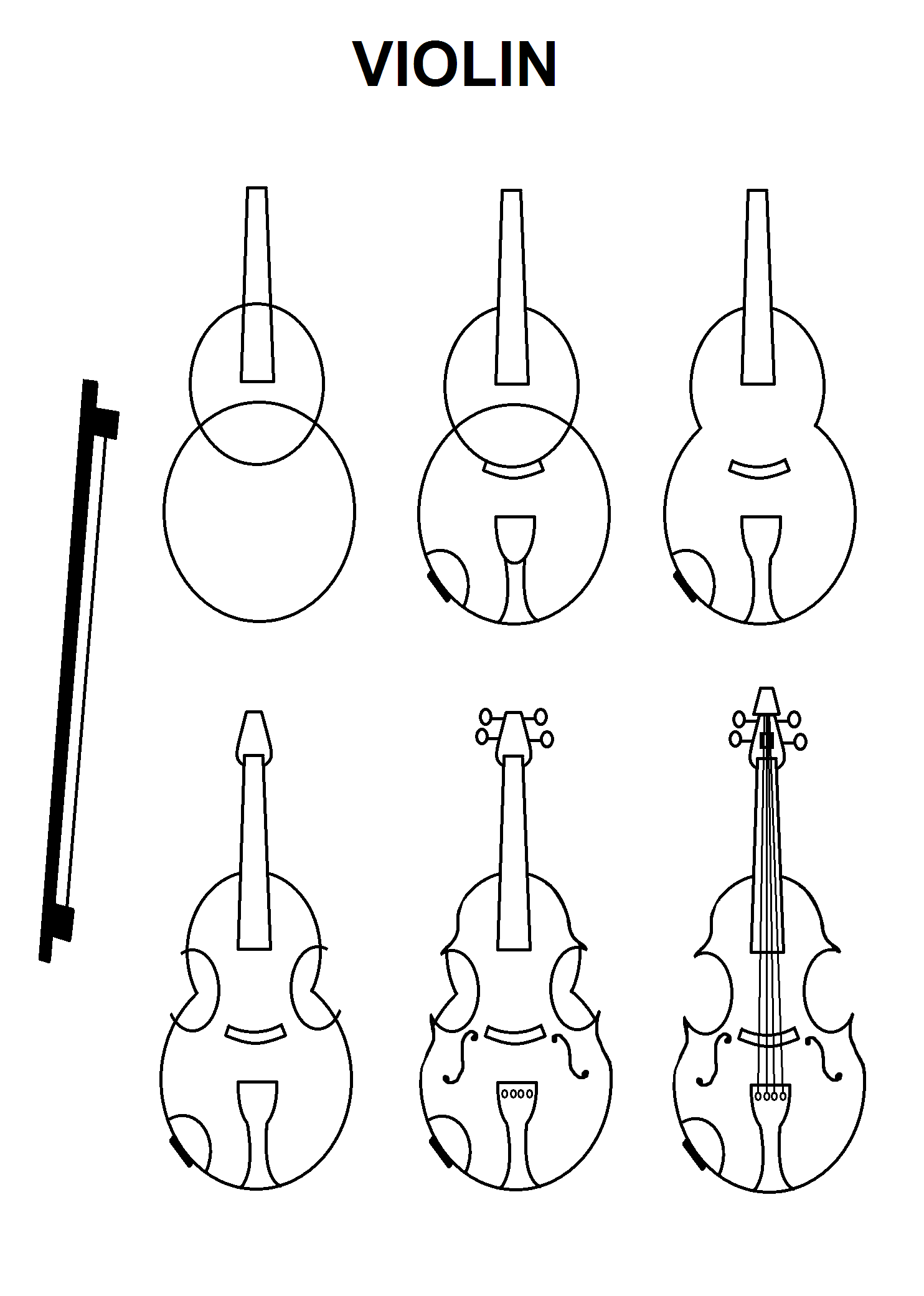 Step By Step Tutorial For A Violin Drawing Tutorials In 2019