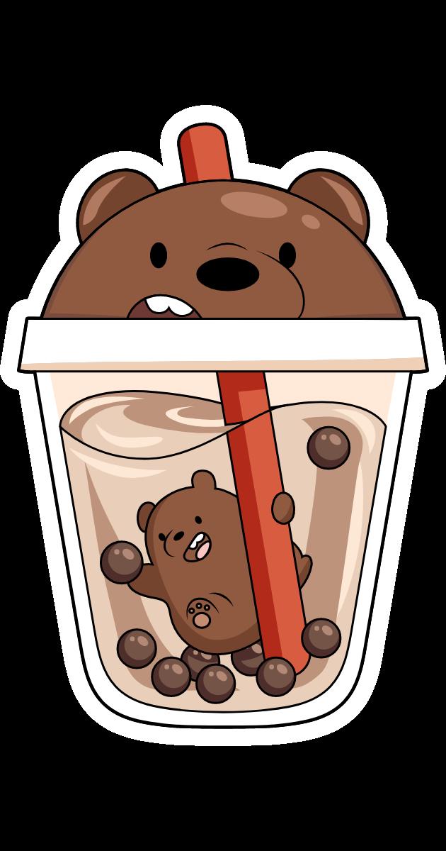 We Bare Bears Grizz in Boba Tea Sticker