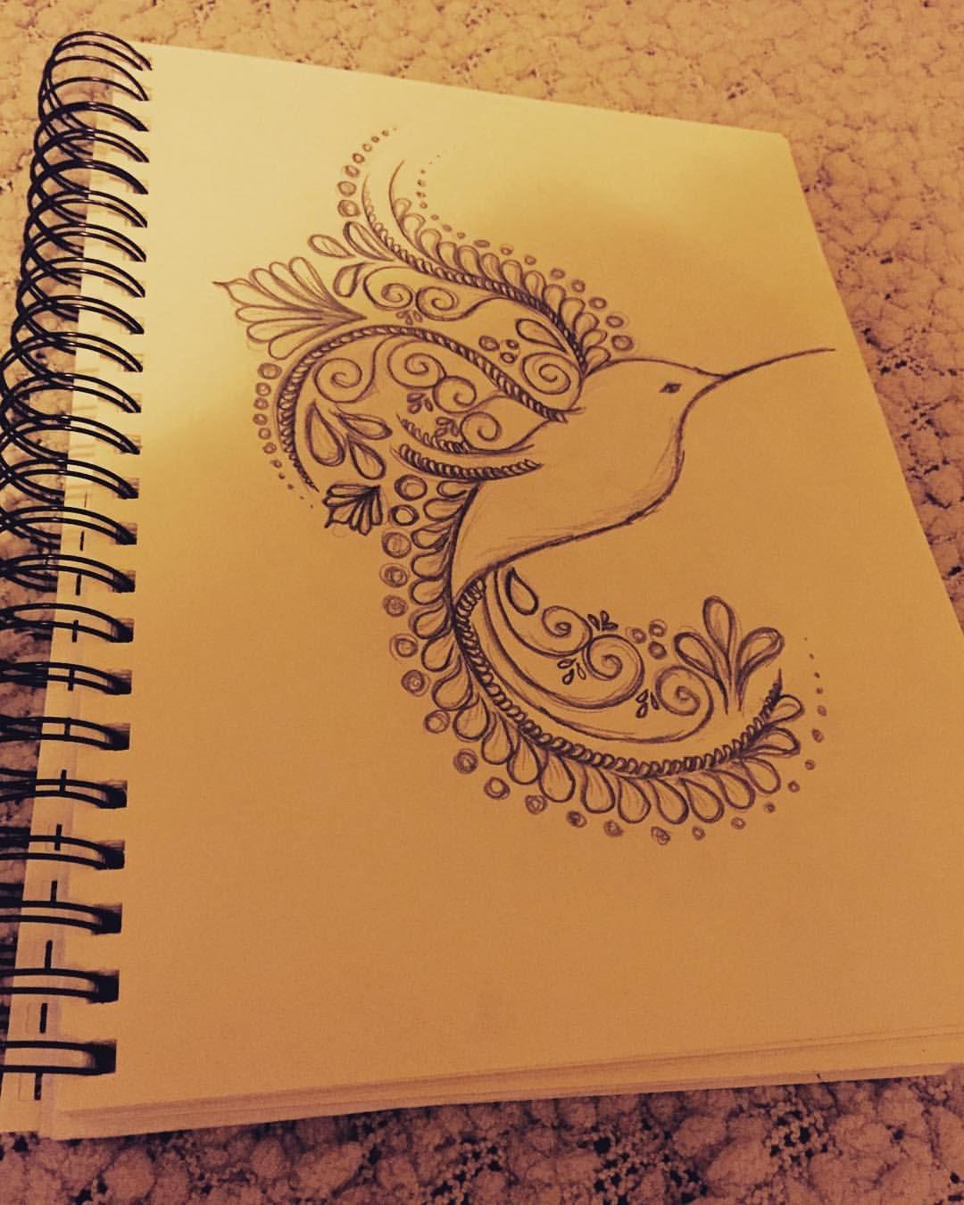 Henna inspired humming bird bird drawing hennainspired draw pencil sketch birddrawing henna hummingbird instagood instadaily instalike love