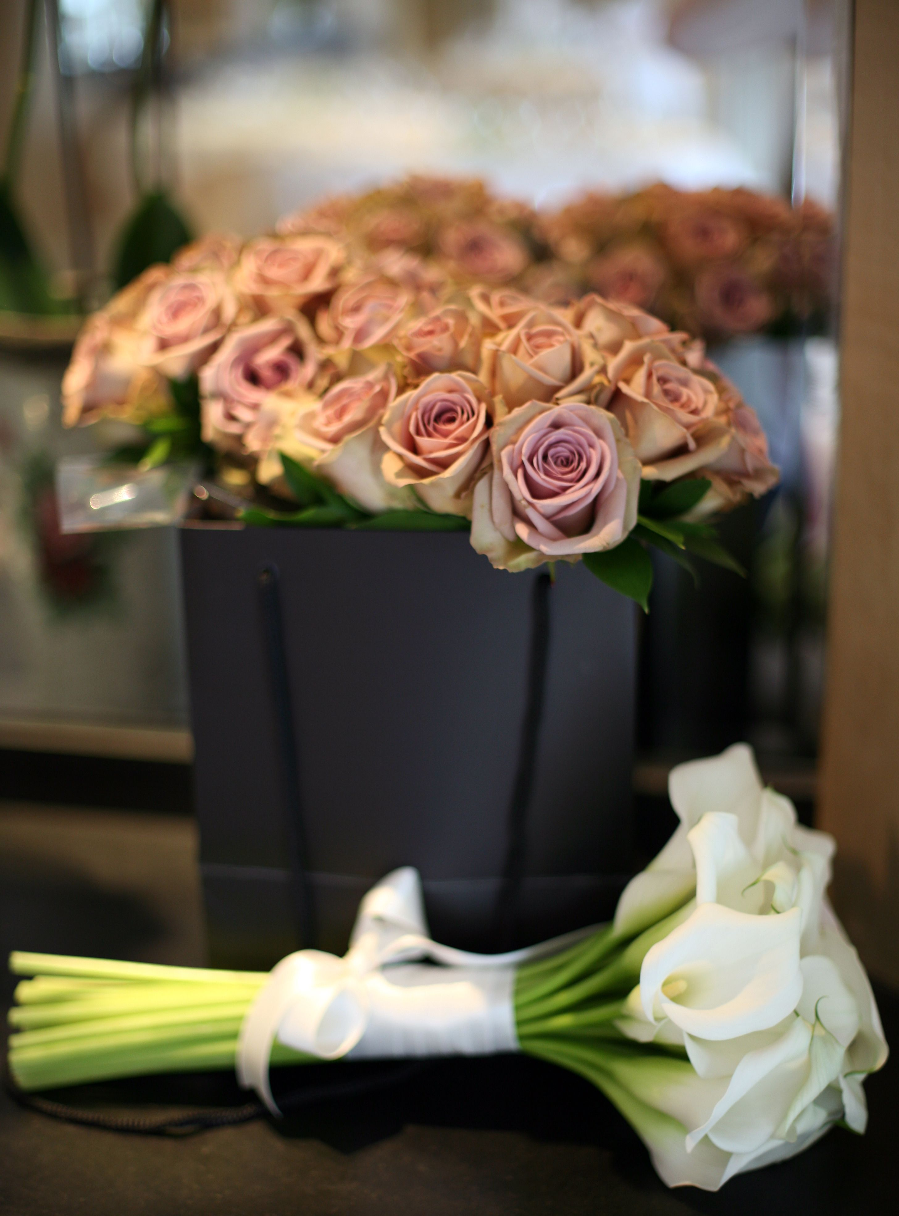 vanillarose.co.uk. Hand tied bridal bouquet of crystal blush calla lilies and bridesmaids bouquets with gorgeous amnesia roses.