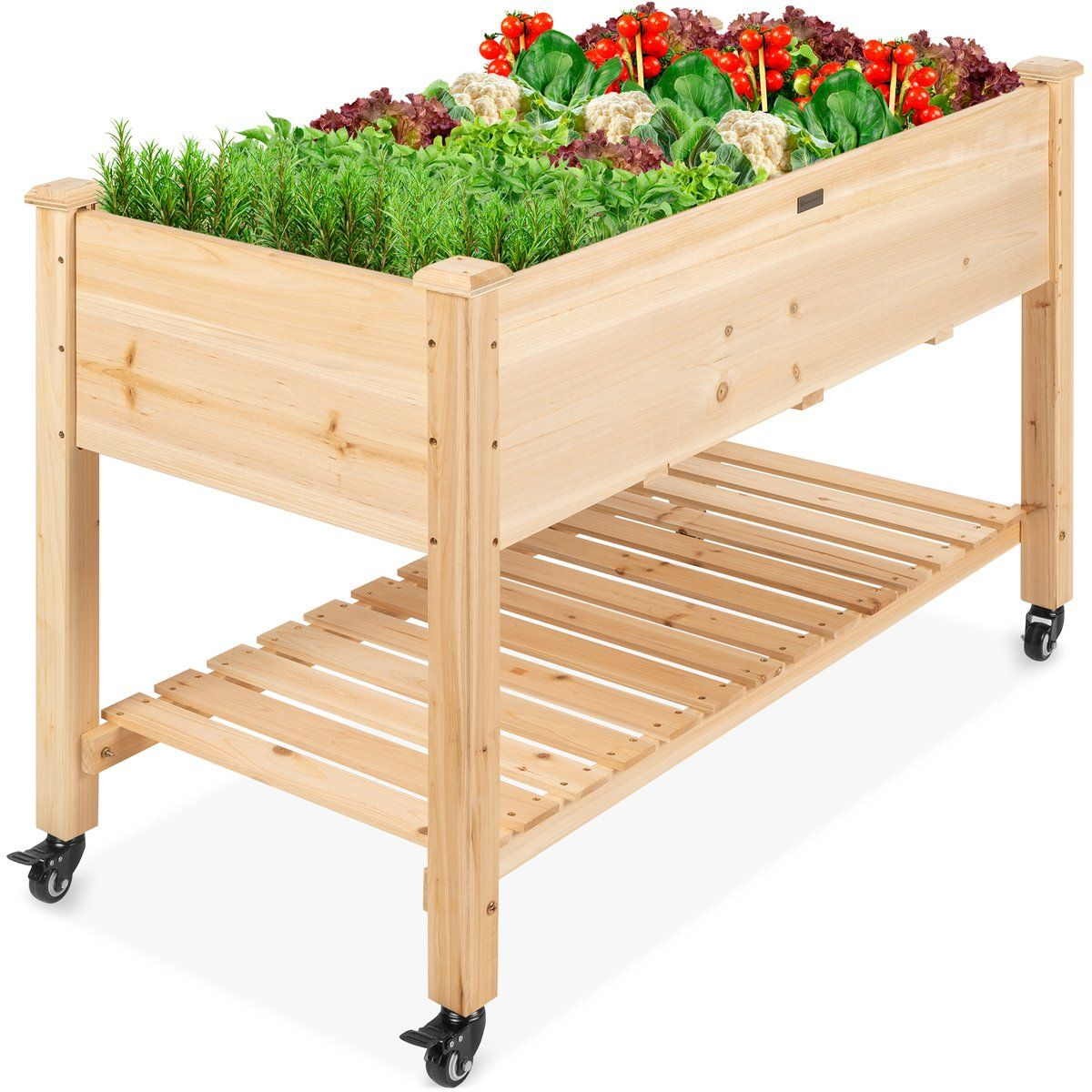 Mobile Raised Garden Bed Elevated Wood Planter W/ Wheels