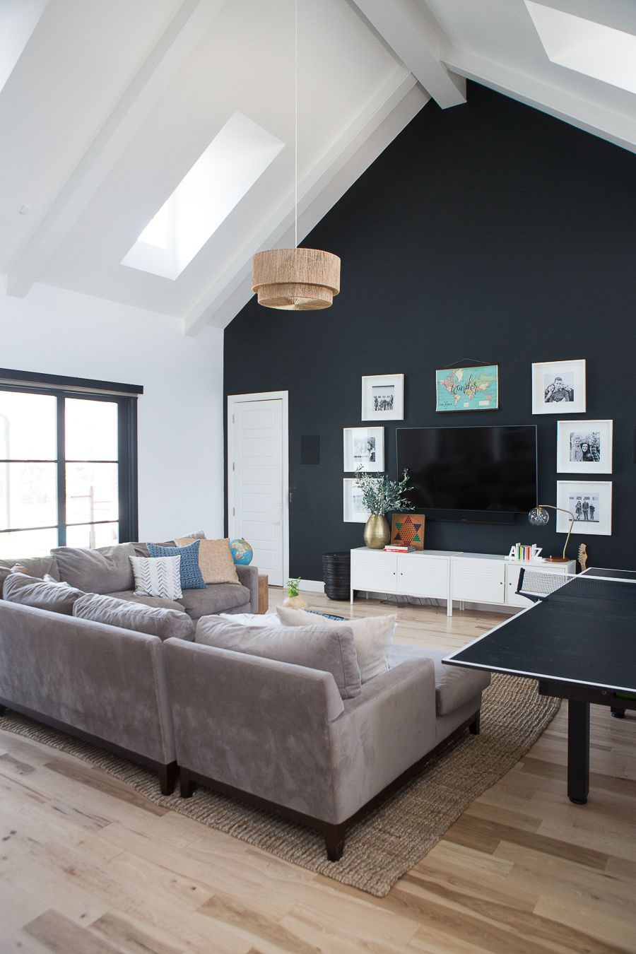 How To Find Black Windows And Doors For Less Ccandmike Game Room Family Black Accent Walls Windows And Doors