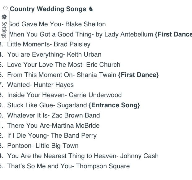 Top 15 Country Wedding Songs Wedding Pinterest Country