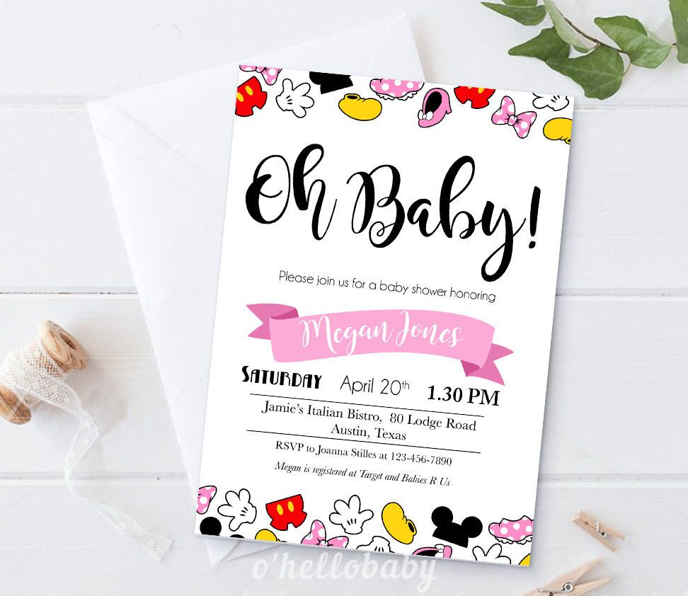 Personalized Disney Theme Oh Baby Baby Shower Invitation Cards ...