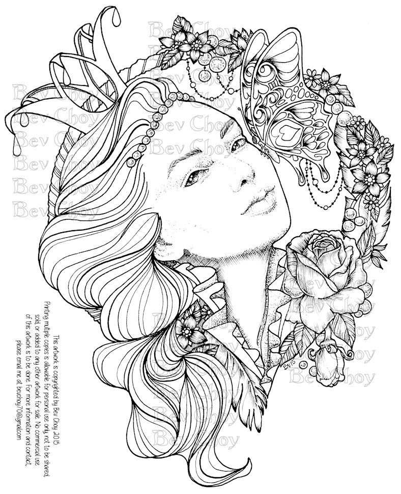 Adult Coloring Page - Butterfly Kisses by BevChoyArt on Etsy | My ...
