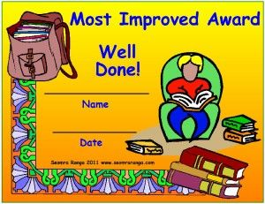 Most Improved Award  Certificates    Certificate And