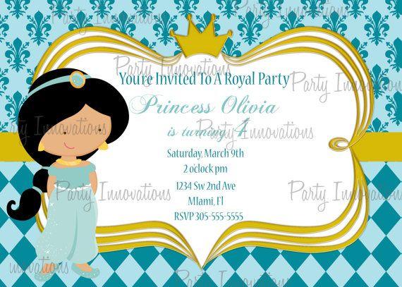 Printable Princess Jasmine Birthday Party Invitation plus FREE – Thank You Party Invitation