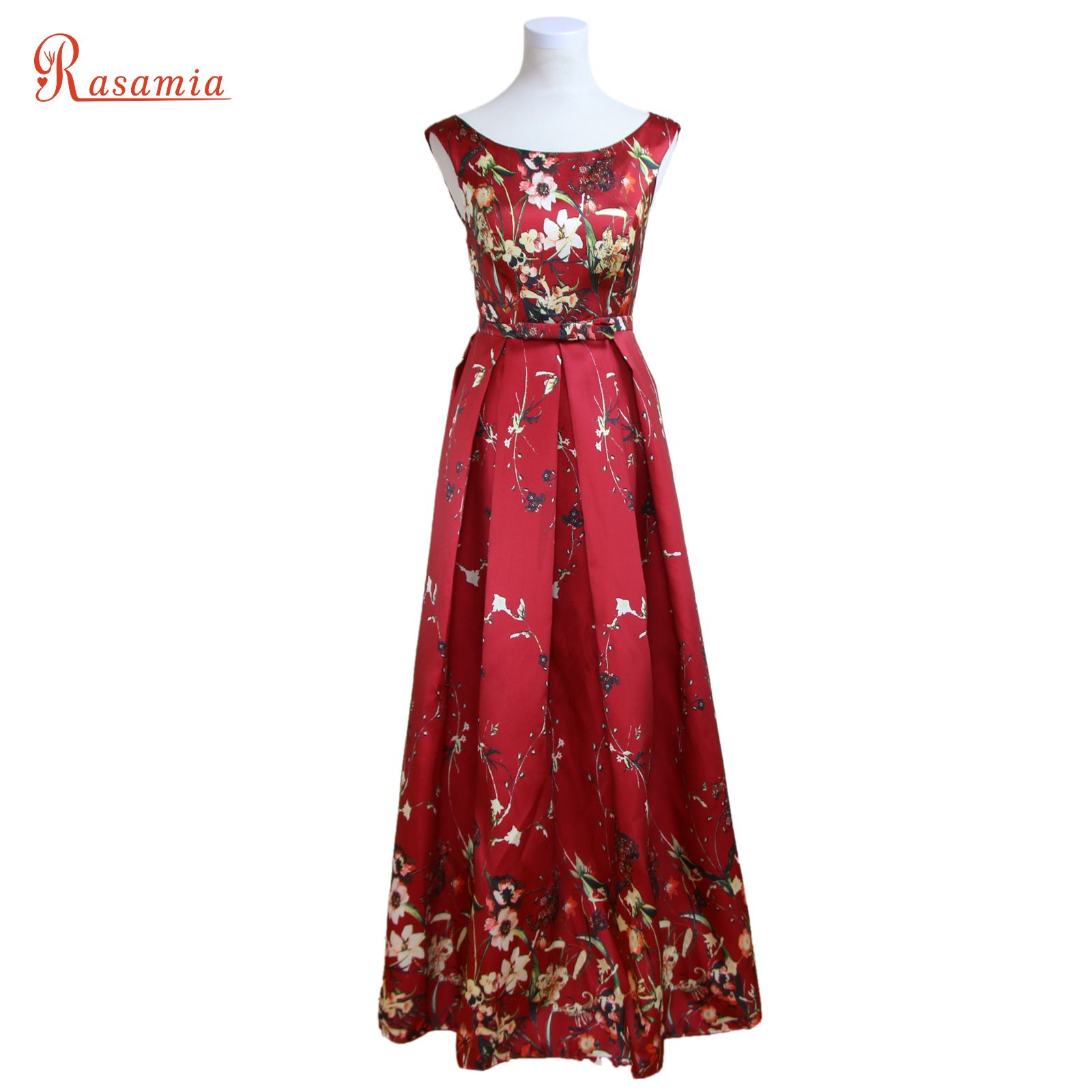 Click to buy ucuc vintage print flroal evening gown long dark red prom