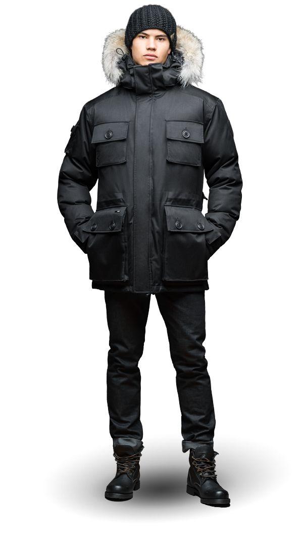 Details about Nobis Yatesy Crosshatch Jacket Premium Canadian White Duck Down Black Men's