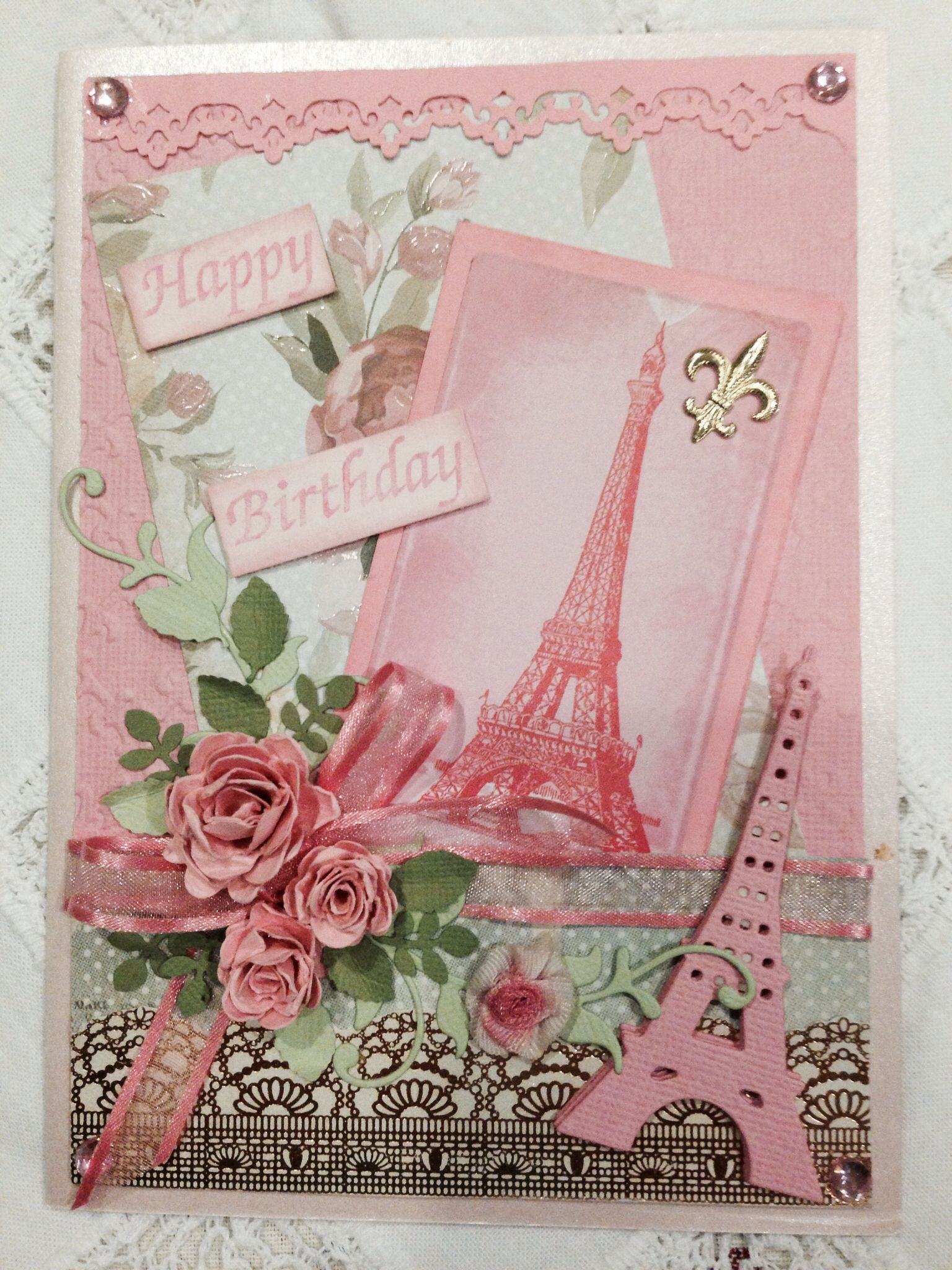 French inspired birthday card hand made by pinner paris