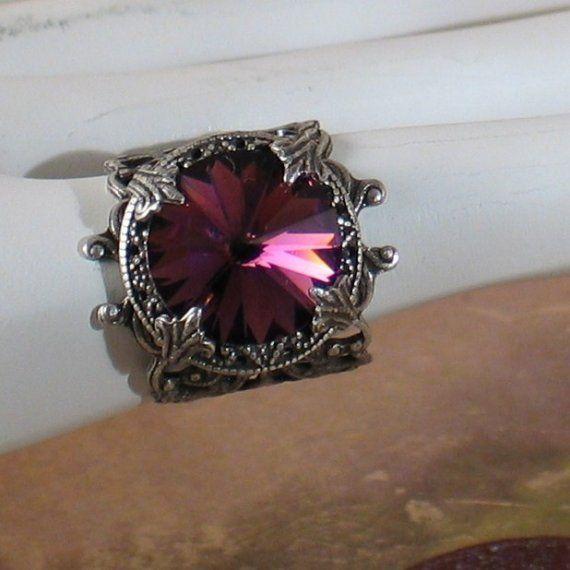 Deep Purple  Amethyst Jewel Art Nouveau Silver by LoreleiDesigns, $36.00
