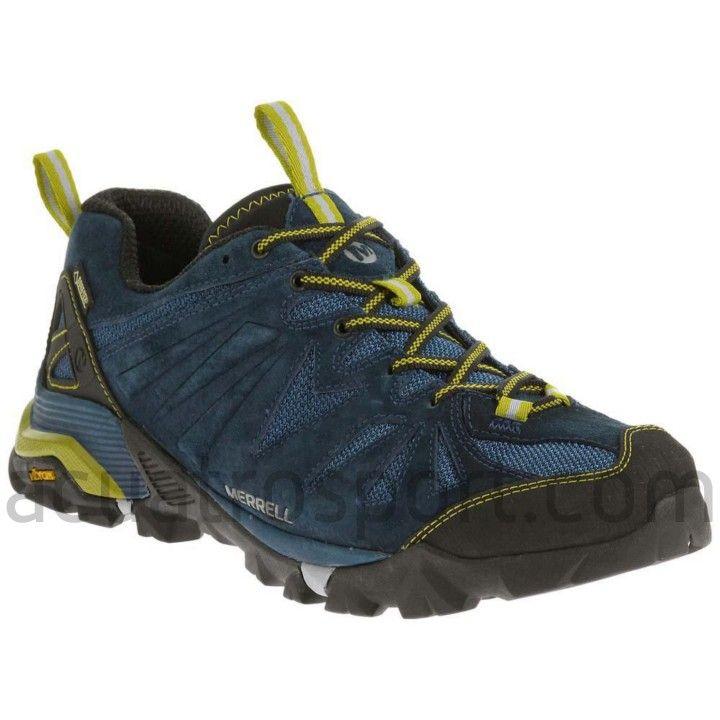 2547bc1db2833 Zapatillas Merrell para trekking modelo Gapra GTX para hombre en colores  azul y lima. Parte superior de malla ligera y transpirable para una óptima  ...