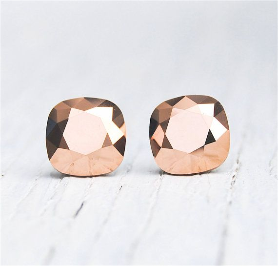 Rose Gold Metallic Earrings Swarovski Crystal Square Stud Mashugana On Etsy 19 50