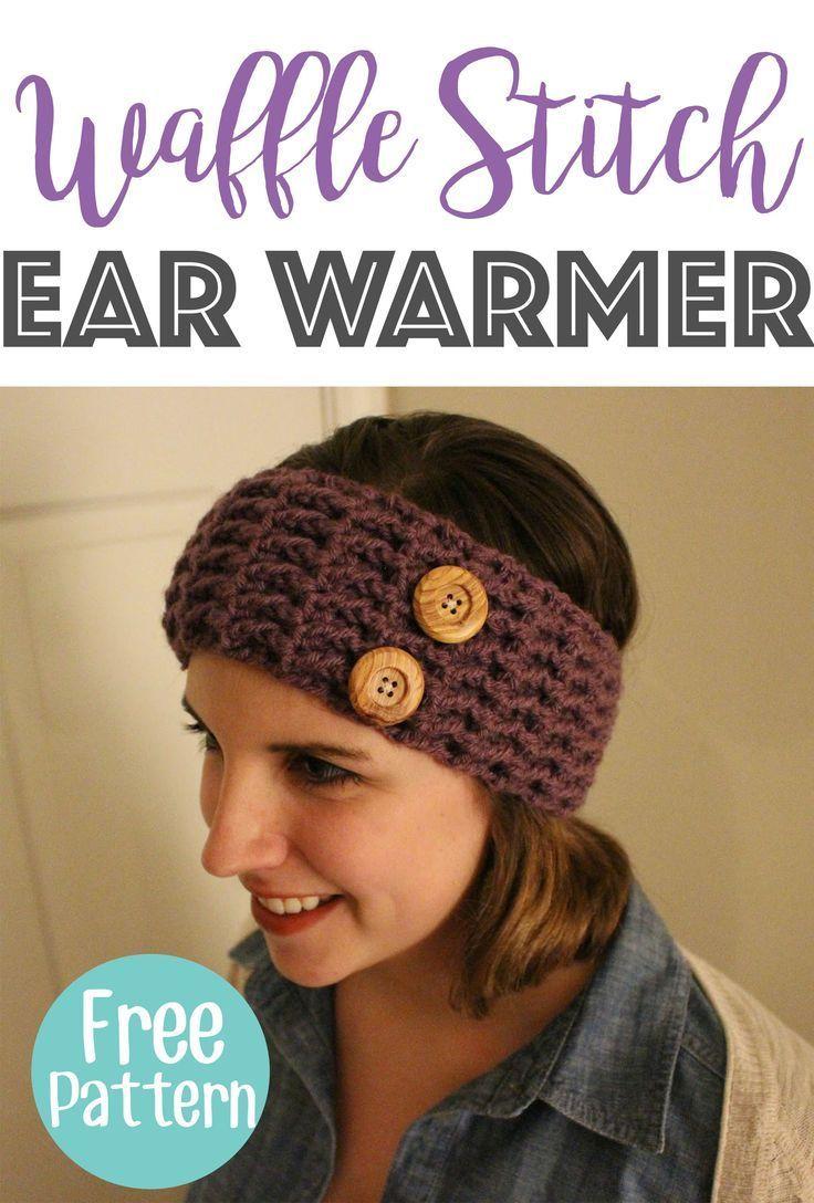 Waffle Stitch Ear Warmer Pattern and Tutorial | Ear warmer headband ...