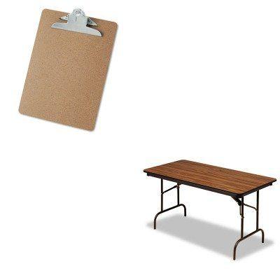 Value Kit   Iceberg Premium Wood Laminate Folding Table And Universal 40304  Letter Size Clipboards