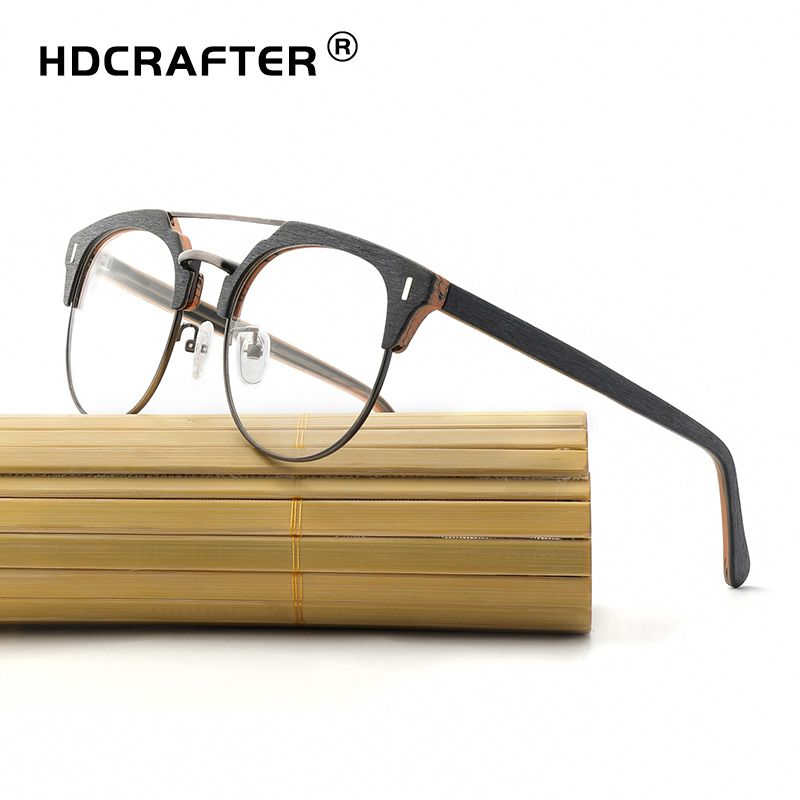 578ad726b21 HDCRAFTER Retro Round Eyeglasses Frames Wooden Men Women Optical Myopia Glasses  Frame Computer Reading Spectacle Plain