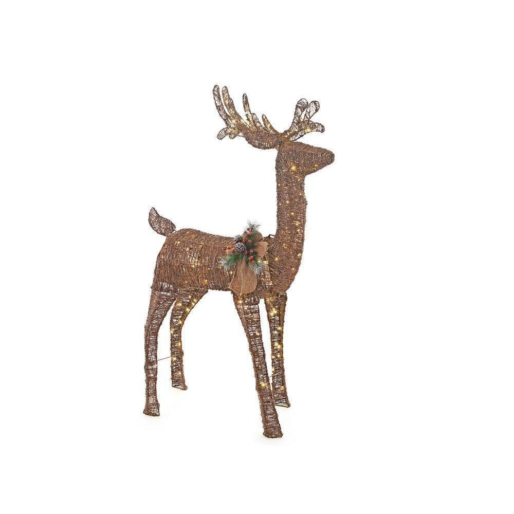 "Rustic Christmas Indoor Outdoor 60"" Lighted Reindeer Deer Buck Yard Lawn Decor  #Unbranded"