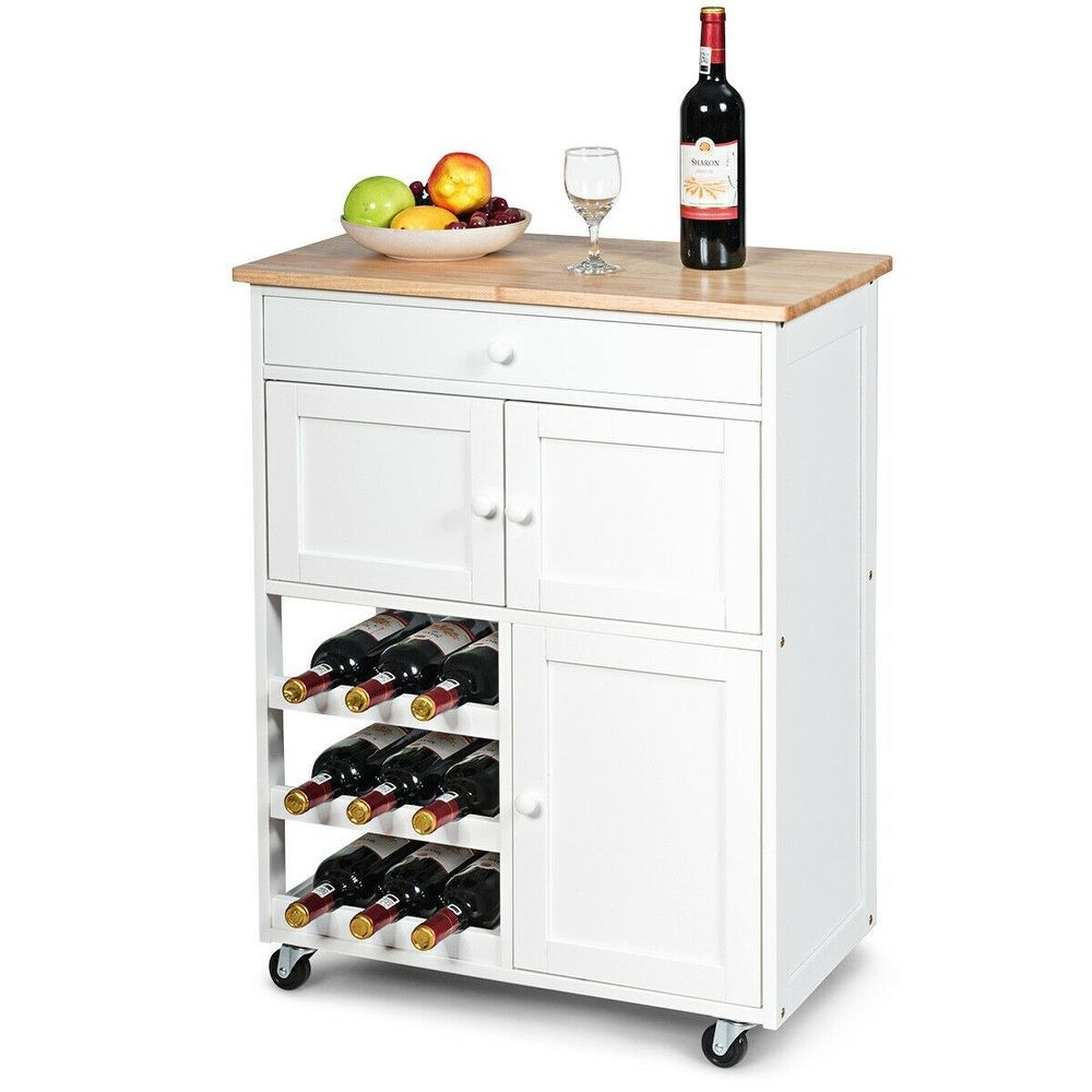 Shop Gymax Modern Rolling Kitchen Cart Trolley Island Storage Cabinet W Drawer W Shop Gymax Modern Rolling Kitc In 2020 Wine Rack Storage Rolling Kitchen Cart