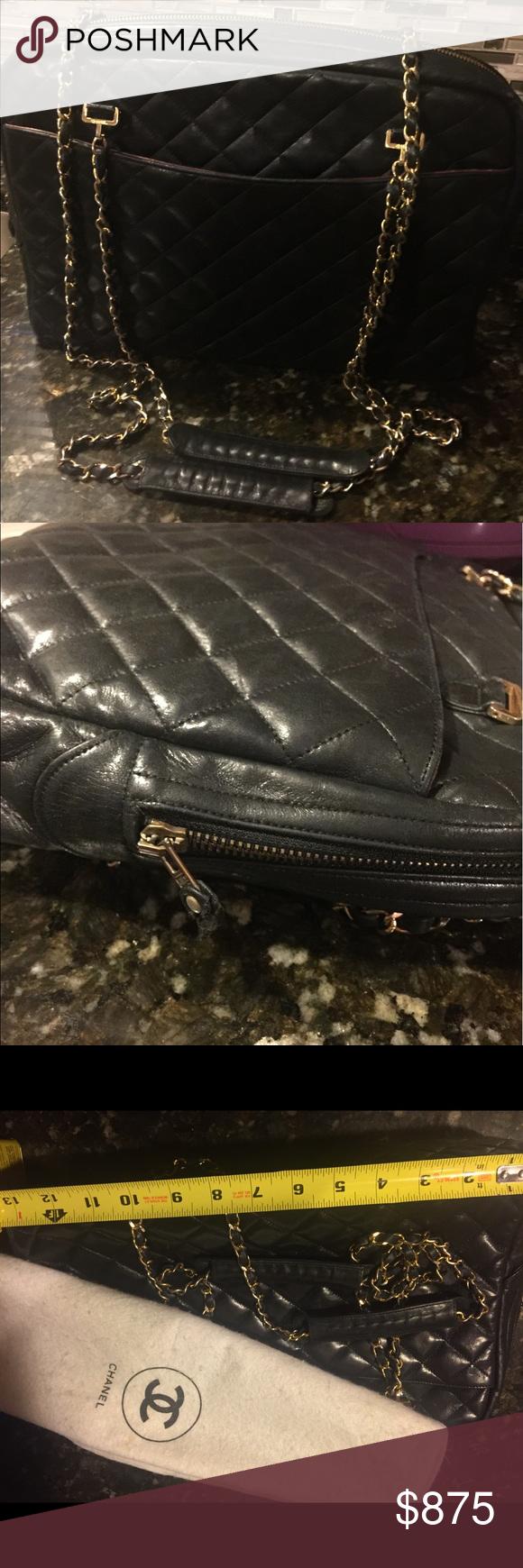 Authentic Chanel Vintage Shopper Handbag Chanel Handbags Leather Handbags Vintage Chanel