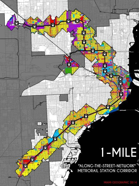 understanding miami's metrorail land-use | map layout, map