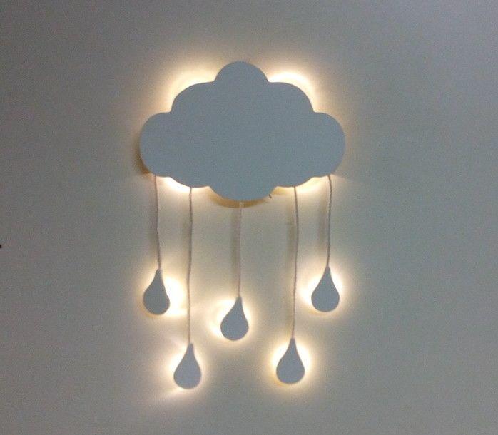 Nuvem Com Iluminacao De Led E Mobile De Gotinhas De Chuva Para