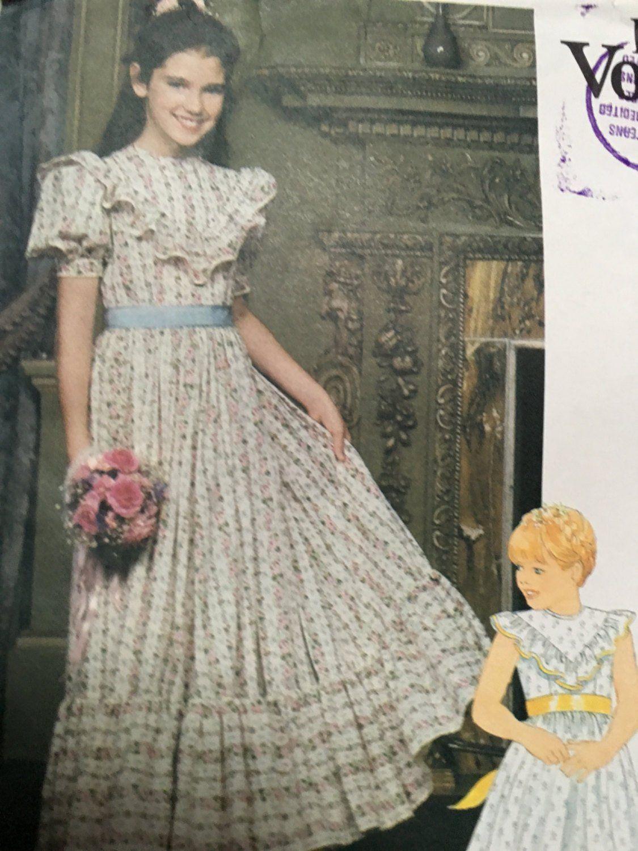 Vintage little vogue pattern sweet girls long dresses size