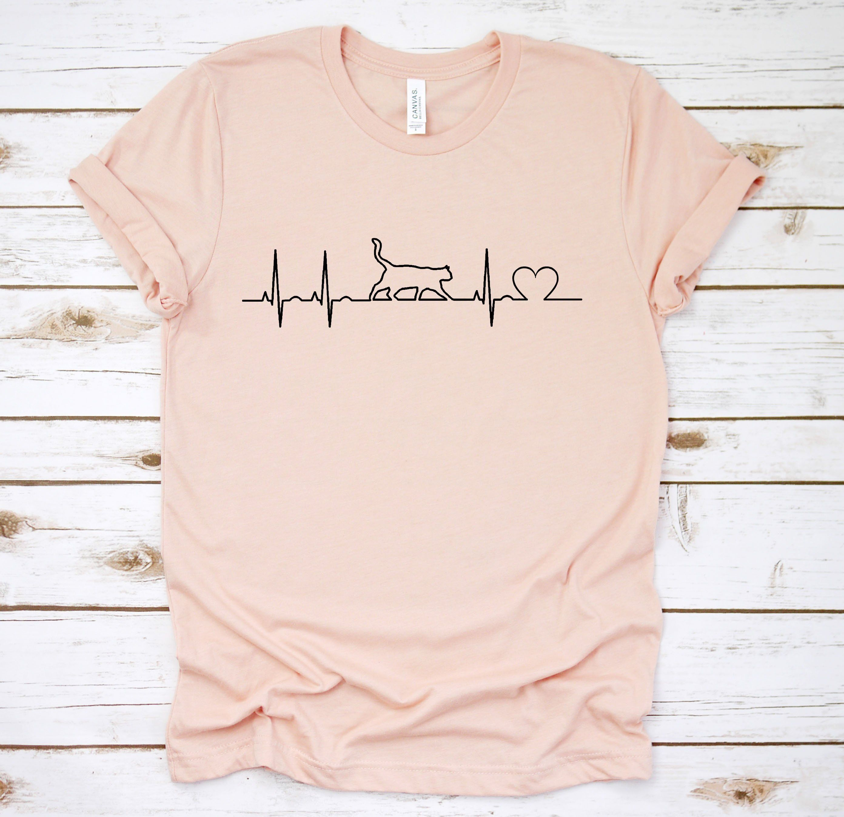6b6dfc0985 Cat Ekg T Shirt, Cat Heartbeat, Gift For Cat Lover, Cute Cat Shirt ...