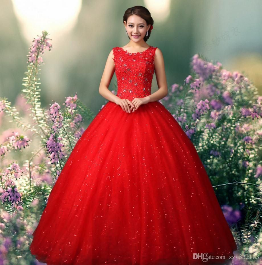 Applique oneck white simple gelinlik red wedding dresses ball gown