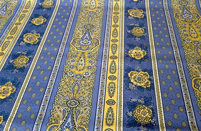 blue and yellow provincial fabric
