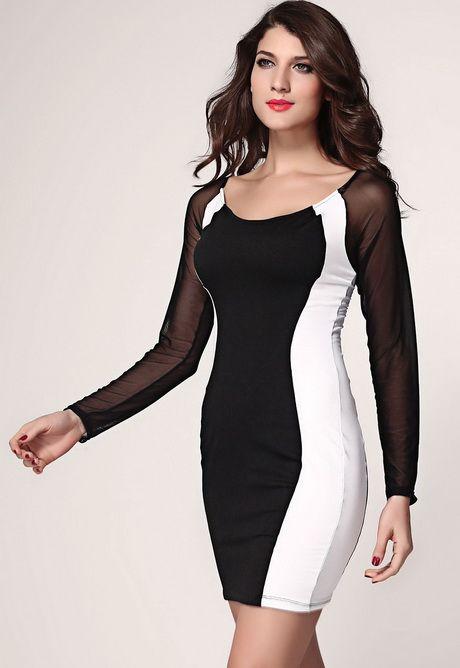 Vestido blanco y negro mujer