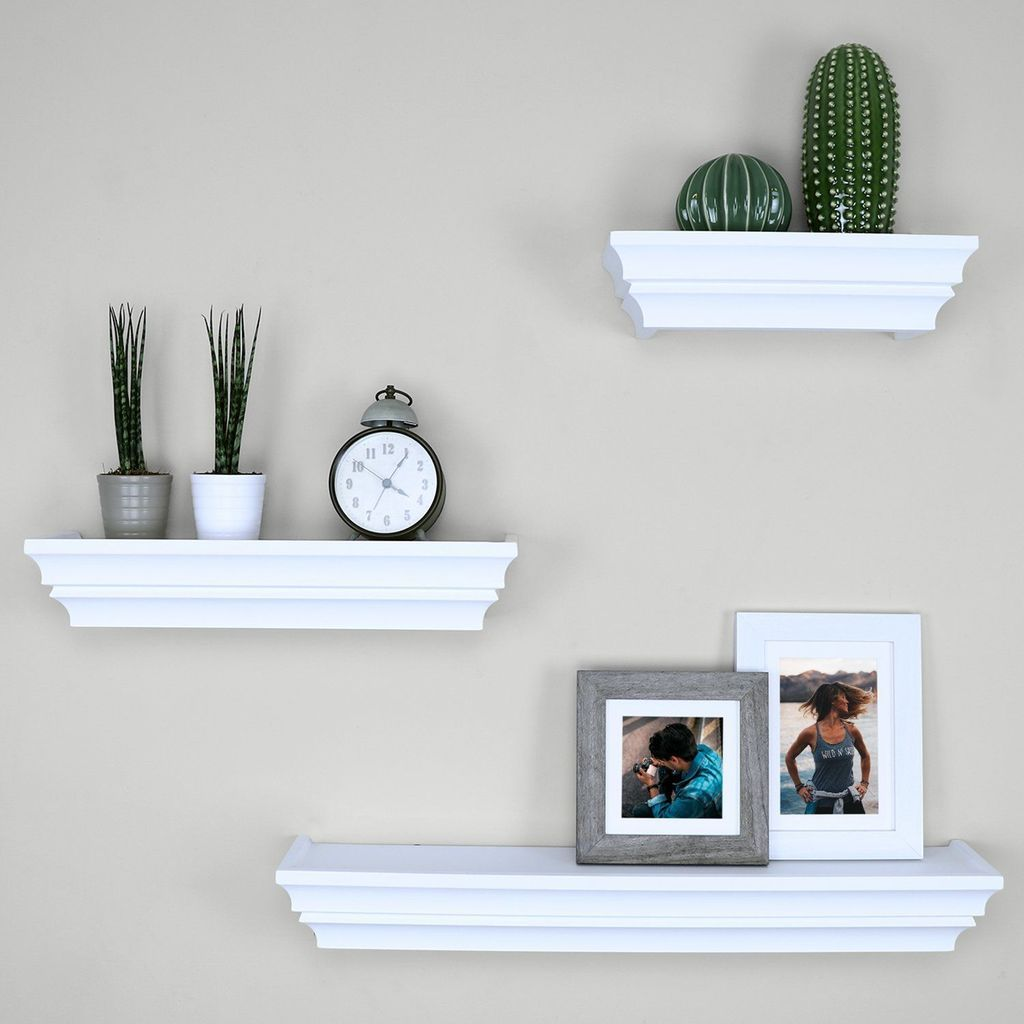 Ballucci Victorian Wall Ledge And Shelf 12 16 24 Set Of 3 White With Images Wall Ledge Interior Paint