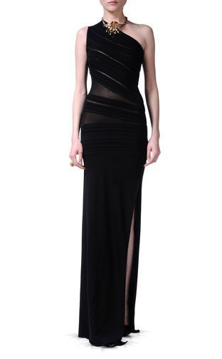 One Shoulder Long Black #Dress by Roberto Cavalli