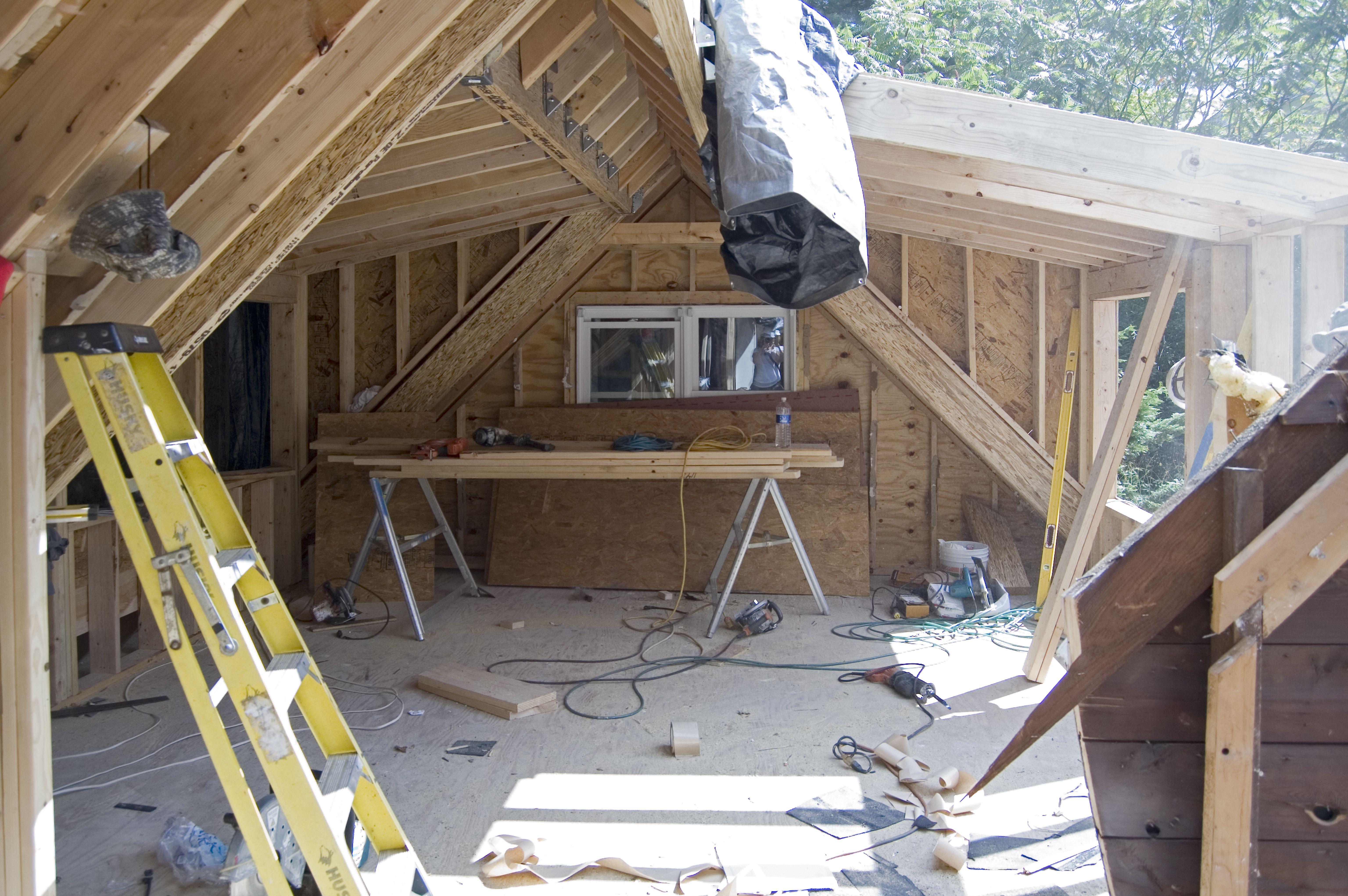Driveway Side Bedroom Demo For Dormer Addition Attic