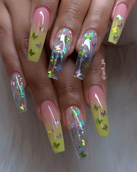 31 Looks Butterfly Nails In 2020 Summer Acrylic Nails Best Acrylic Nails Pretty Acrylic Nails