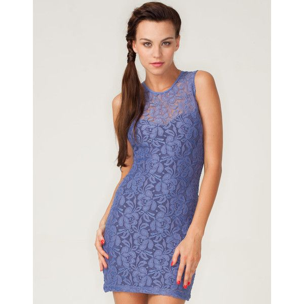 Motel Rosa Sleeveless Lace Bodycon Dress In Lilac ($40