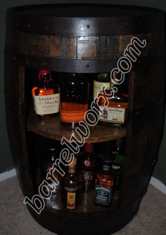 Whiskey Barrel Display Liquor Cabinet With Double By BarrelWorx, $549.00