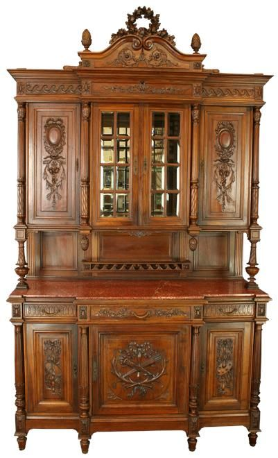 gorgeous antique louis xvi buffet china cabinet in walnut with red rh pinterest com  antique china buffet cabinet