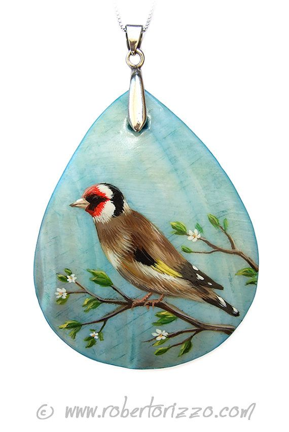 Goldfinch Nacre Pendant Hand Painted Jewels (con