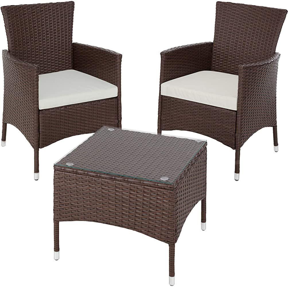 Tectake 800566 Poly Rattan Gartenset 2 Stuhle Und Kleiner Tisch Mit Glasplatte Robustes Gestell Aus Stahl Diverse Polyrattan Lounges Haus Deko Sitzgruppe