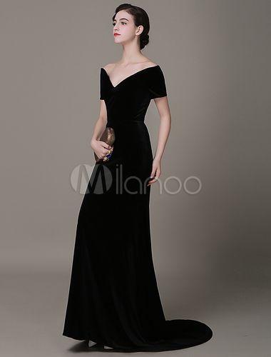 f4174f76a Vestido de noche de terciopelo negro con manga corta y escote en corazón  Milanoo