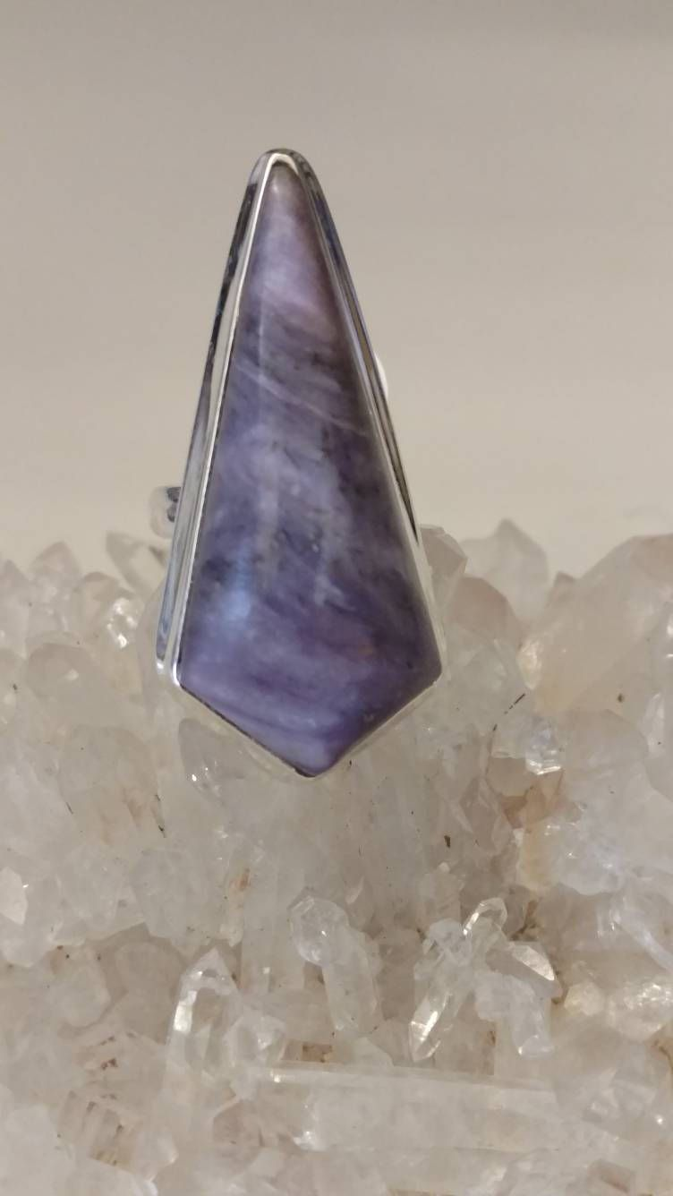 Huge Charoite Ring, Size 5 1/2 by KarinsForgottenTreas on Etsy