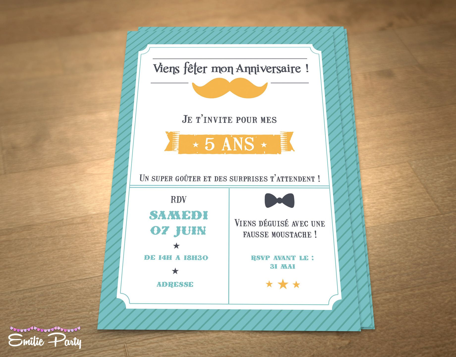 invitation d 39 anniversaire pour petit gar on th me moustache personnalisable sur etsy. Black Bedroom Furniture Sets. Home Design Ideas