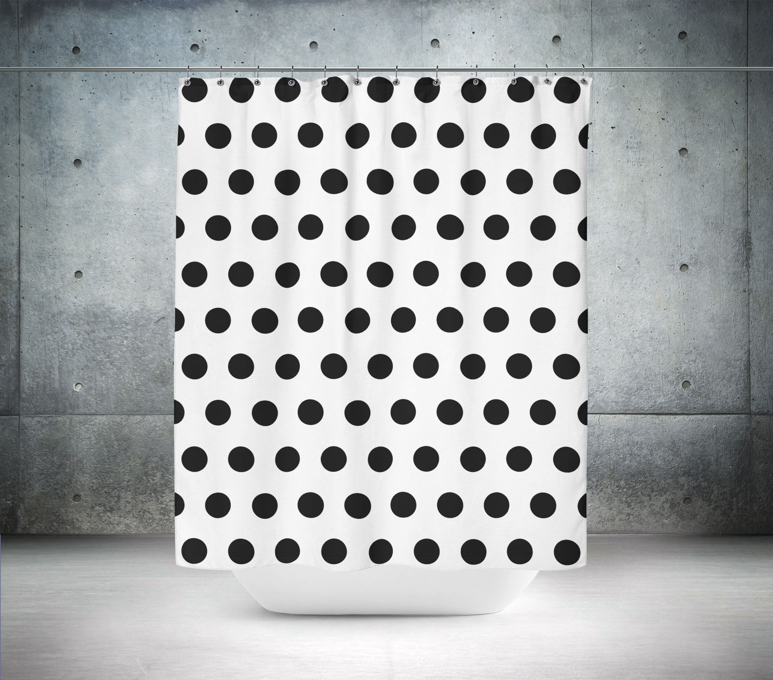 Black White Polka Dot Shower Curtain