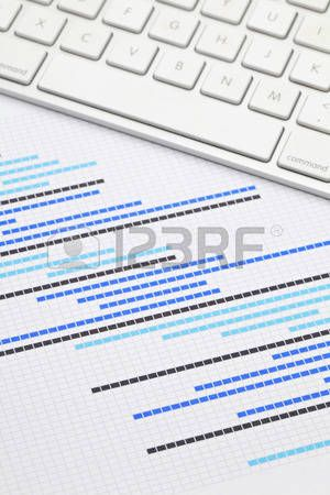 Gantt Chart With Keyboard Stock Photo  Gantt