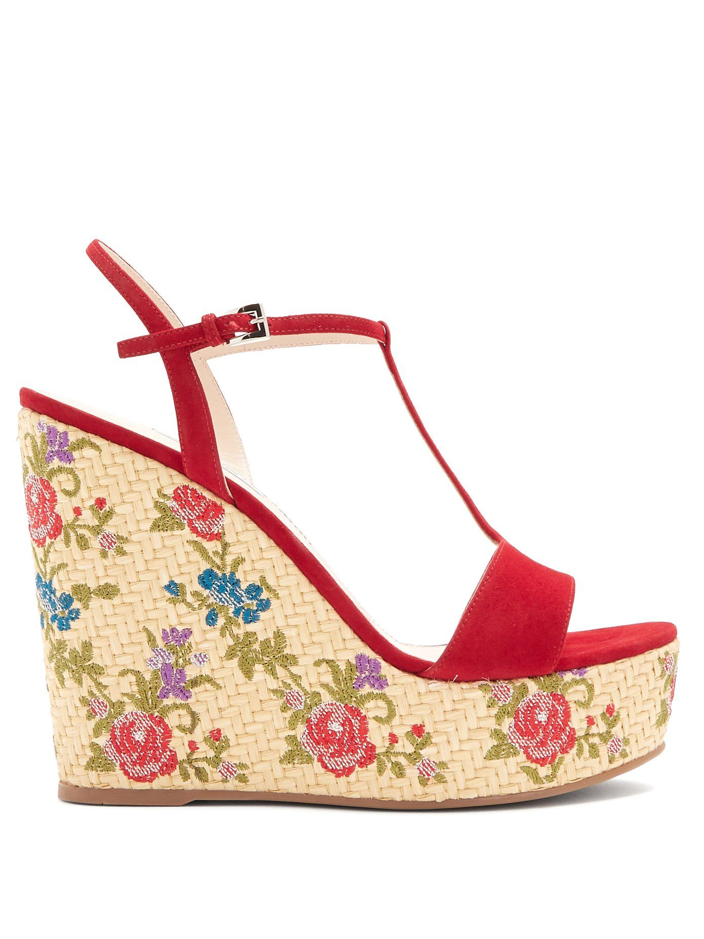53cfd9483f94 Floral-embroidered suede wedge sandals