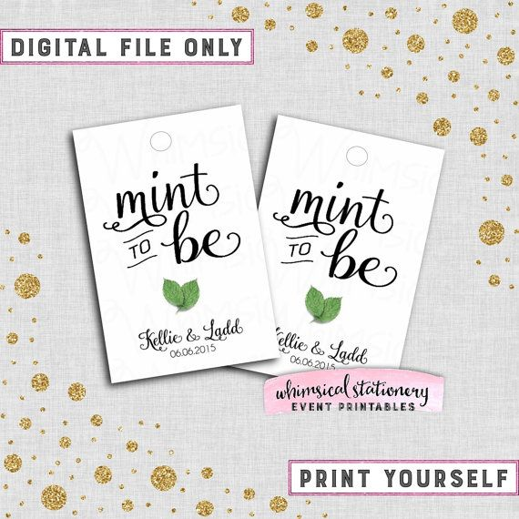 Mint To Be Mints Favor Tags Swirly Ii Printable File Only Fresh